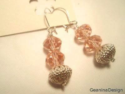 Cercei din cristale Swarovski roz.