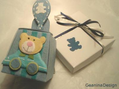 Cutii bomboniere pentru botez cu ursuleti, Geanina design.