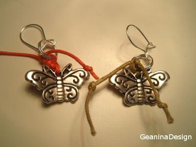 Cercei fluturi din metal argintat cu agatatori din argint.