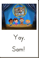 clap for sam picture page with text