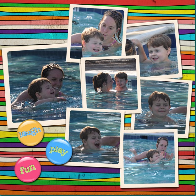 sam's 4th swimming lesson scrapbook page copy