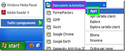 Aprire Esecuzione automatica Windows