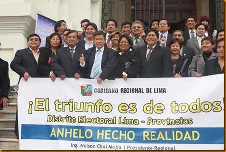 el presidente regional nelson chui, los consejeros y los alcaldes provinciales y distritales se unieron para restituir distrito electoral múltiple