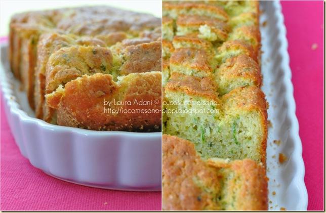 Collage cake salato zucchini basilico e pecorino romano