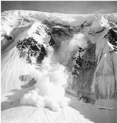 An avalanche on Mount McKinley in Alaska.