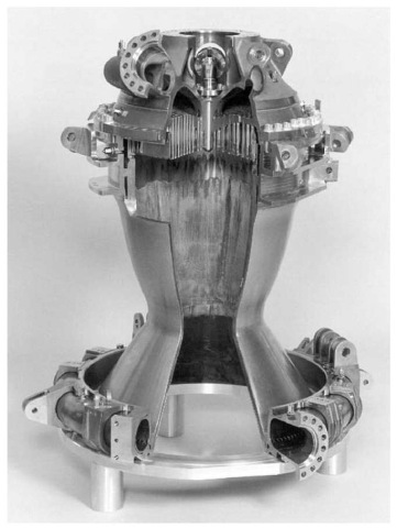 Photo of regeneratively cooled thrust chamber (Vulcain). This figure is available in full color at http://www.mrw.interscience.wiley.com/esst.