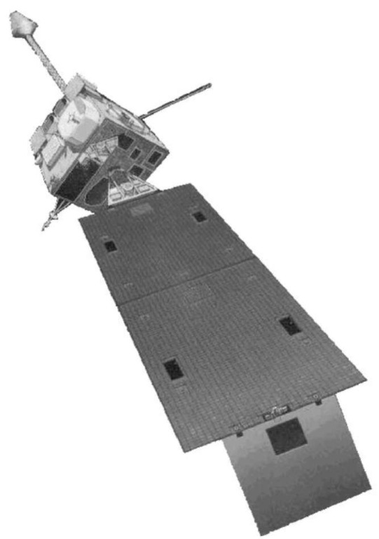 A geosynchronous operational environmental satellite (GOES). The function of this spacecraft is to make panoramic pictures of the world's weather patterns from an altitude of 22,500 miles.