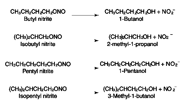 Breakdown of alkyl nitrites in humans. Note: pentyl = amyl.