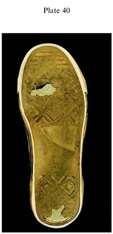 Plate 40 PATTERN EVIDENCE/Bare Footprint Marks Outsole of a running shoe, showing wear areas on the ball of the foot and the heel.