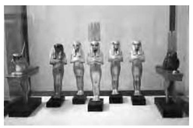 The shabtis discovered in the burial chamber of King Tut'ankhamun and now in the Egyptian Museum in Cairo.