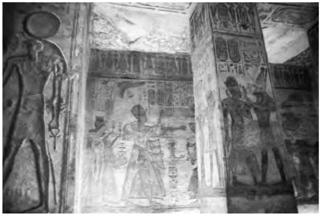 The elaborate paintings depicting Ramesses II (r. 1290-1224 b.c.e.) in his glorified eternal role in the Valley of Kings site.