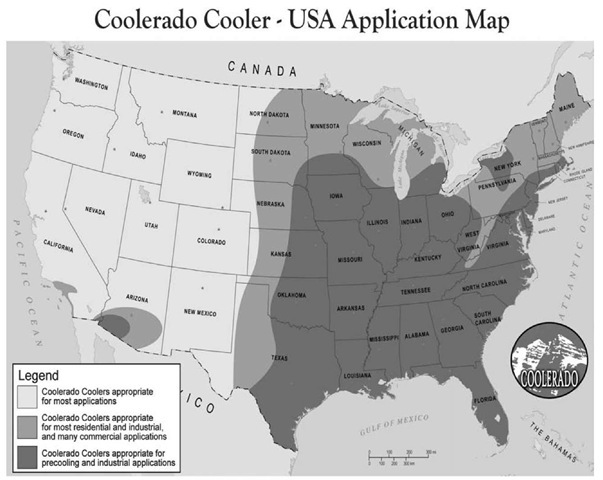Potential applications for the Coolerado Cooler in the continental United States.