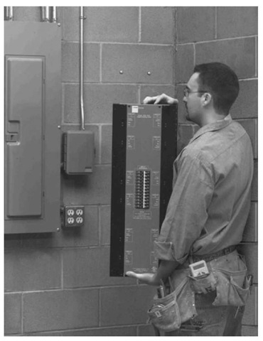 Lighting control panel installation.