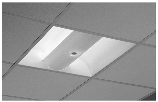 A growing number of light fixtures are now available with integrated automatic lighting controls, such as this recessed basket, which includes an integrated sensor.