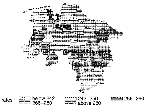 Disease mapping illustrated by age-standardized mortality rates in part of Germany.