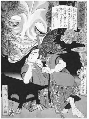 A story from the famous series Biyu Suikoden (Handsome Heroes of the Water Margin) of the warrior Takagi Umanosuke undergoing a trial of courage by spending the night in a haunted ancient temple, 1866.