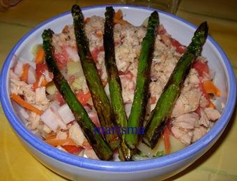 ensalada con trigueros a la plancha