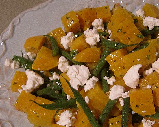 Golden Beet Salad with Green Beans & Goat Cheese