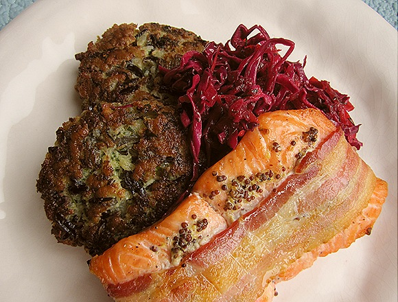 Bacon-Wrapped Salmon with Wild Rice Risotto Cakes & Vinegary Slaw