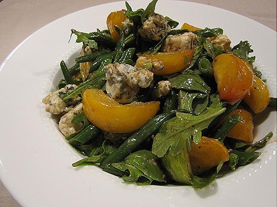 Salad of Green Beans, Tomatoes Arugula & Blue Cheese