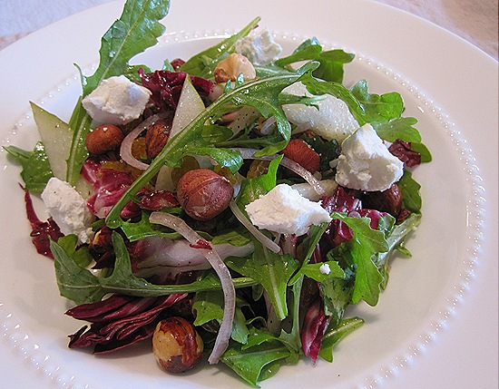 Fall Salad of Pears, Hazelnuts, Shallots, Golden Raisins & Goat Cheese
