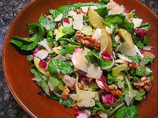 Salad with Walnuts, Apples, Currents, Celery, Fennel & Parmesan