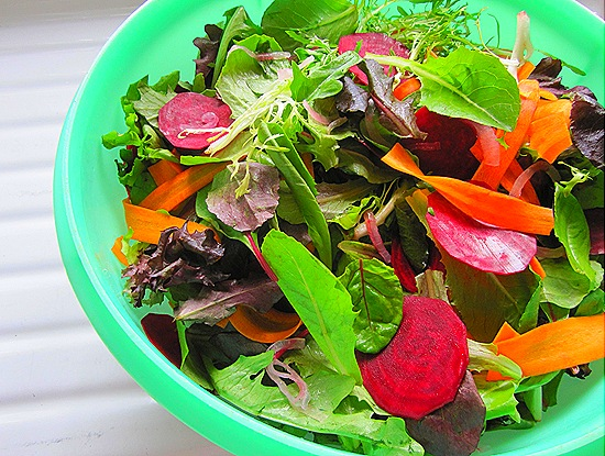Mixed Greens with Carrots, Beets & Pickled Onions