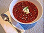 Beet Borscht with Sour Cream & Chives