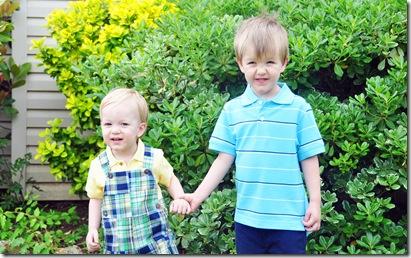 easter 2010 boys in grandmas yard