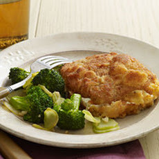Breaded Pork-and-Mozzarella Stacks with Garlic Broccoli