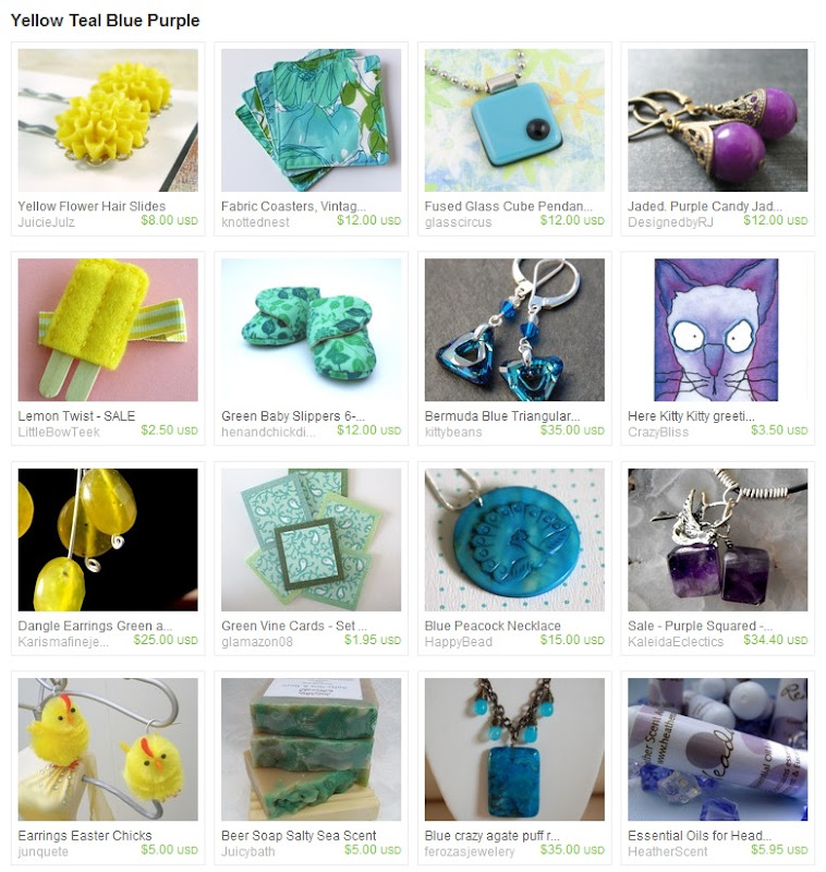 Yellow Teal Blue Purple Striped Treasury