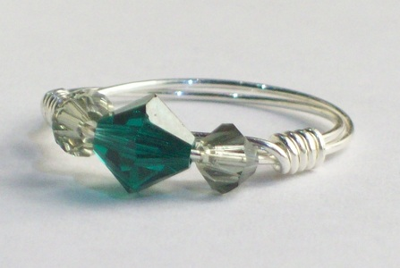 Green Swarovski Crystal Ring by Rings Handmade