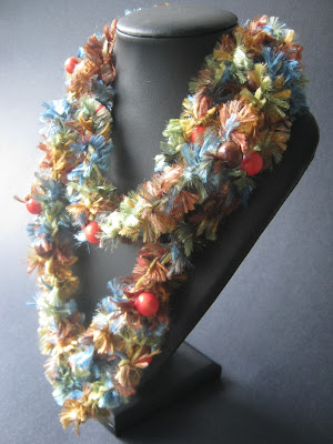 Crocheted Necklace with Wood Beads