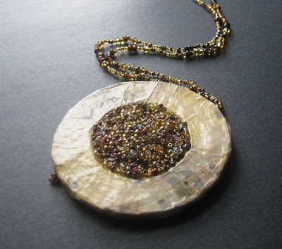 Paper and Mixed Bead Pendant