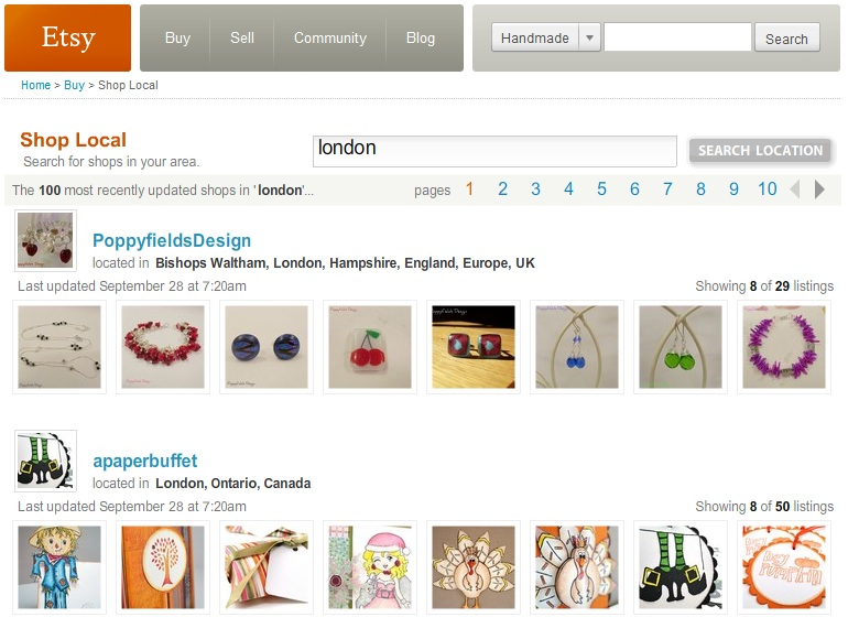 Search for Etsy Shops in London