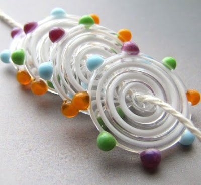 White Swirl Dotted Lampwork Disc Beads by Alisha White Designs