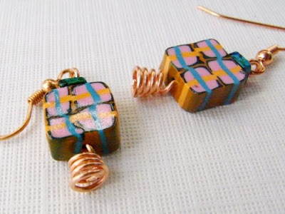 Plaid Polymer Clay Earrings by Averilpam