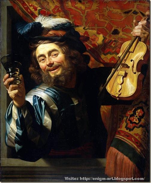 Gerrit Van Honthorst, joyeux violoniste,  1623