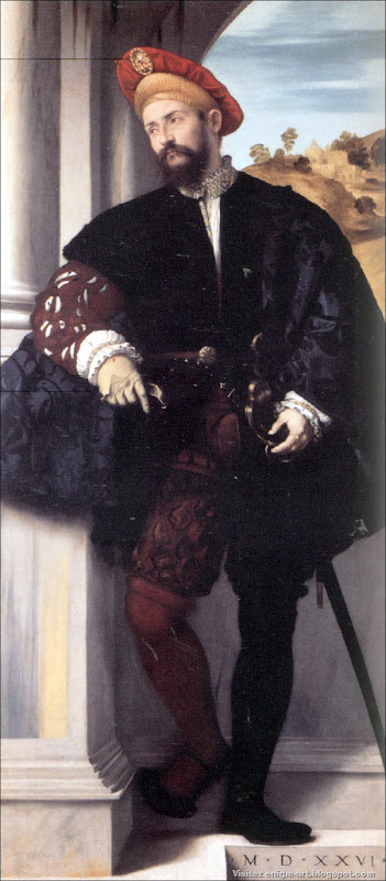 Moretto da Brescia, Gentilhomme en pied, 1526, Londres