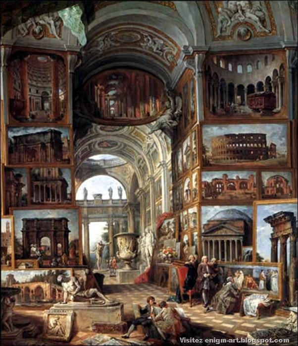 Giovanni Paolo Pannini,Galerie de la Rome antique, 1755