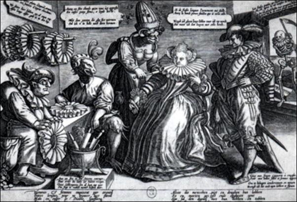 Caricature sur l'usage des fraises, Gravure, vers 1595
