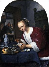 Jan Steen, La goûteuse d'huîtres