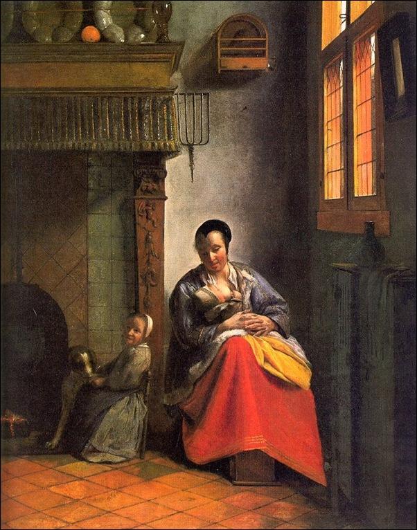 Ecole flamande, Femme allaitant et enfant