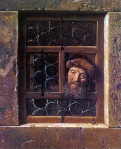 Samuel Van Hoogstraten, l'homme à la fenêtre 1653