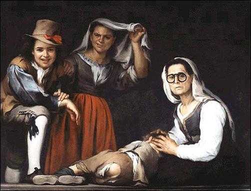 Bartolomeo Esteban Murillo, Quatre personnages sur une marche d'escalier 1655