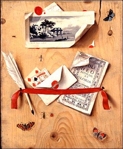 Gaspar Gresly, Trompe l'oeil à la gravure,almanach et papillon