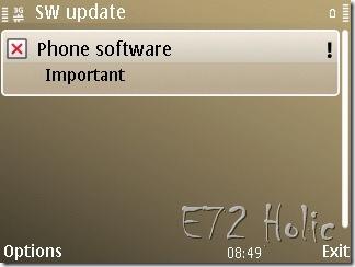 Salah Satu Fungsi SW Update di Nokia E72