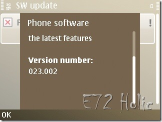 FW Versi Terbaru untuk E72
