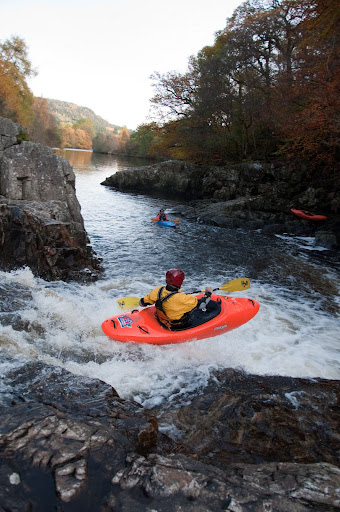 Practicing my boof on the Lower Tummel