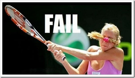 Funny woman playing tennis.